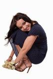 Giovane donna caucasica che porta vestito casuale blu Fotografie Stock Libere da Diritti