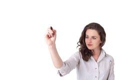 Giovane donna che attinge wihteboard immagini stock