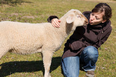 Giovane donna che bacia piccolo agnello Fotografia Stock