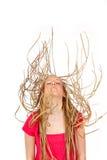 Giovane donna che cade o che salta fotografia stock libera da diritti