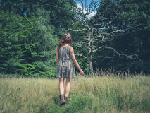 Giovane donna che cammina nel prato Fotografie Stock Libere da Diritti