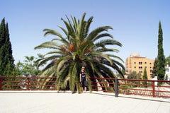 Giovane donna che cammina su Alhambra Fotografia Stock Libera da Diritti