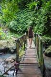 Giovane donna che cammina sul ponte sospeso sopra la corrente di Wainibau, passeggiata costiera di Lavena, isola di Taveuni, Figi immagini stock libere da diritti