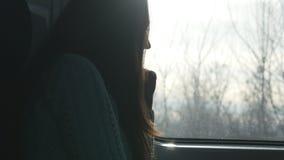 Giovane donna che considera finestra durante la guida sul treno Profilo della ragazza attraente che viaggia sulla ferrovia video d archivio