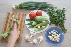 Giovane donna che cucina pasto sano nella cucina Cottura sana Fotografie Stock