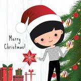 Giovane donna che decora l'albero di Natale Illustrazione di Stock