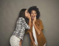 Giovane donna che dice al suo amico alcuni segreti immagini stock