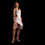 Giovane donna che esegue ballo del latino con la passione Fotografia Stock Libera da Diritti