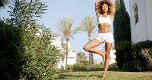 Giovane donna che fa esercitazione di yoga video d archivio