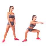 Giovane donna che fa esercizio di sport Immagini Stock
