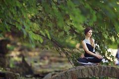 Giovane donna che fa gli esercizi di yoga in ponte del parco Immagine Stock Libera da Diritti