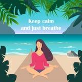 Giovane donna che fa meditazione nella posa del loto con gli occhi chiusi La bella ragazza si rilassa, praticando l'yoga sulla sp illustrazione vettoriale