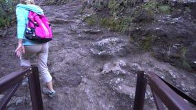 Giovane donna che fa un'escursione nella gola video d archivio