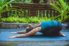 Giovane donna che fa yoga fuori nell'ambiente naturale Immagini Stock Libere da Diritti