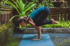 Giovane donna che fa yoga fuori nell'ambiente naturale Immagine Stock Libera da Diritti