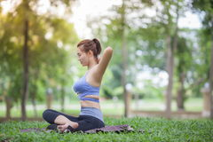 Giovane donna che fa yoga nel parco Fotografia Stock Libera da Diritti