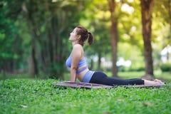 Giovane donna che fa yoga nel parco Immagini Stock