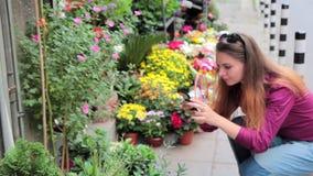 Giovane donna che fotografa i fiori in un piccolo negozio di fiore sulla via in Europa stock footage