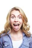 Giovane donna che grida fotografie stock