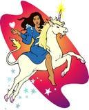 Giovane donna che guida un unicorno Fotografia Stock