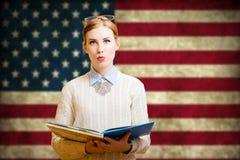 Giovane donna che impara l'inglese Fotografia Stock