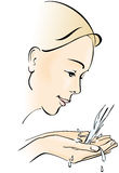 Giovane donna che lava il suo fronte. Acqua, mani a coppa. illustrazione vettoriale