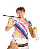 Giovane donna che lava la finestra Fotografia Stock