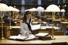 Giovane donna che lavora nella libreria Fotografie Stock