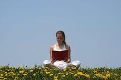 Giovane donna che legge un libro Immagine Stock