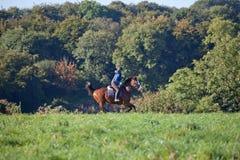 Giovane donna che monta un cavallo attraverso il campo aperto Fotografia Stock Libera da Diritti