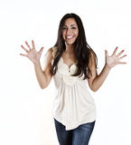 Giovane donna che mostra eccitamento Fotografie Stock Libere da Diritti