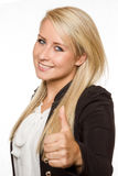 Giovane donna che mostra i pollici su con le sue mani Immagine Stock Libera da Diritti