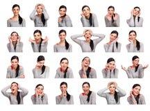 Giovane donna che mostra parecchie espressioni, isolate Immagini Stock Libere da Diritti
