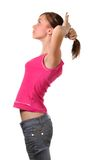 Giovane donna che organizza capelli Fotografia Stock