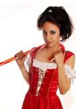 Giovane donna che porta il costume rosso della Santa fotografia stock