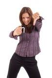 Giovane donna che rompe sigaretta Fotografia Stock