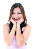 Giovane donna che sembra sorpresa Fotografia Stock Libera da Diritti