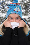Giovane donna che si congela nell'inverno nel legno Fotografie Stock Libere da Diritti