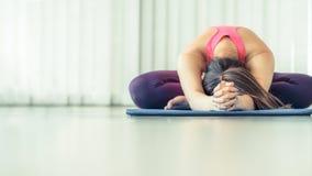 Giovane donna che si esercita allungando indietro posa di yoga Immagine Stock