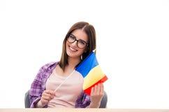 Giovane donna che si siede alla tavola con la bandiera del francese Immagine Stock