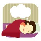 Giovane donna che sogna nel suo sonno Fotografia Stock Libera da Diritti