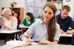 Giovane donna che studia ad una classe di corsi per adulti Immagini Stock
