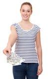 Giovane donna che tiene 300 dollari Fotografie Stock Libere da Diritti