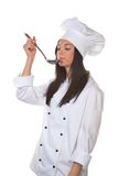 Giovane donna come cuoco unico dell'allievo Fotografia Stock Libera da Diritti