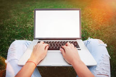 Giovane donna computer portatile usando e di battitura a macchina nell'erba di estate Franco Fotografia Stock Libera da Diritti