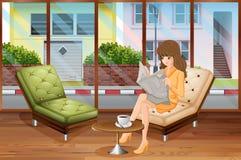 Giovane donna con capelli lunghi che si siedono nella lettura del sedile di finestra royalty illustrazione gratis