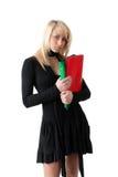 Giovane donna con i dispositivi di piegatura Fotografie Stock Libere da Diritti