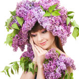 Giovane donna con i fiori Fotografia Stock Libera da Diritti
