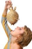 Giovane donna con i pesci Immagine Stock