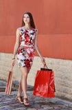 Giovane donna con i sacchetti della spesa Immagini Stock Libere da Diritti